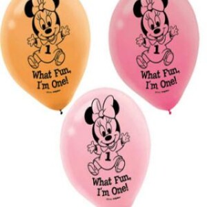 BABY MINNIE MOUSE 1ST BIRTHDAY LATEX BALLOONS PACK OF 15